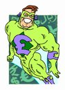 Poundman cartoon superhero with pound currency emblem on costume Stock Image