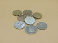 Pounds british coins currency of united kingdom Stock Images