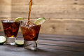 Pour the rum and cola cuba libre Royalty Free Stock Photo