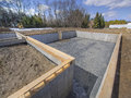 Poured concrete basement house foundation Stock Photo