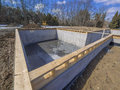 Poured concrete basement house foundation Stock Images