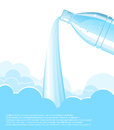 Pouring clean water background vector bottle blue and dropes decoration for text Stock Photo