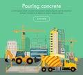 Pouring Concrete Conceptual Flat Vector Web Banner