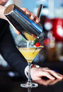 Pouring drink bartender a shaken Stock Photo