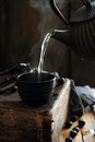 Pouring hot water Royalty Free Stock Photo