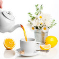 Pouring Lemon Tea Royalty Free Stock Images