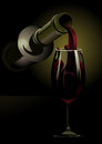 Pouring red wine dark atmospheric d illustration of a bottle into an elegant stemmed wineglass with copyspace Stock Images