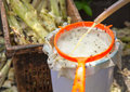 Pours sugar cane juice produced from pressing sugar cane Royalty Free Stock Images