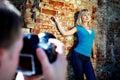 Pousse de photo romantique avec le femme Photographie stock