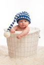 Pouting Baby Boy Wearing a Stocking Cap Royalty Free Stock Photo