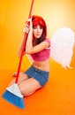Pouting cleaning Angel  Royalty Free Stock Photos