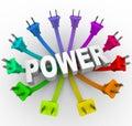 Pouvoir - mot entouré par Plugs Image libre de droits