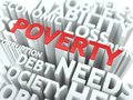 Poverty the wordcloud concept social word in red color surrounded by a cloud of words gray Royalty Free Stock Photos