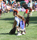 Pow wow child dancer american indian dancing at a Royalty Free Stock Image