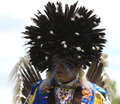 Pow wow man with black feather head dress american indian at Royalty Free Stock Image