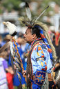 Pow wow man dancer with eagle american indian dancing at a an staff Stock Photo