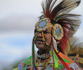 Pow wow man dancer smiling american indian dancing at a with a big smile Stock Photography