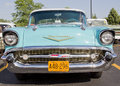 Powder Blue & White 1957 Chevy Bel Air Front View Royalty Free Stock Images