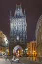 Powder tower gate at evening in prague czech republic sep on sep Royalty Free Stock Photo