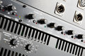 Power amplifier and equalizer control panel close up Royalty Free Stock Photos