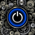 Power button on gears background Royalty Free Stock Photo