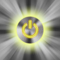 Power button gray and yellow Royalty Free Stock Photo