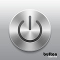 Power button with metal brushed aluminum chrome texture Royalty Free Stock Photo