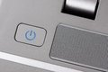 Power button metallic on a laptop Royalty Free Stock Photography