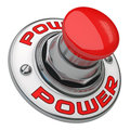 Power button rugged metal screwed on white background Stock Image