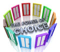 Power of choice many doors opportunity decide best option in the design the information related with the selection Royalty Free Stock Photo