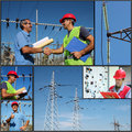 Power Company Electrical Engineers - Collage Royalty Free Stock Photo