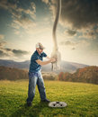 Power cord from heaven a man pulls down a large to plug into the earth Stock Photo