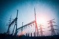Power distributing substation Royalty Free Stock Photo