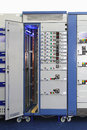 Power distribution unit board current breakers with overcurrent protection Stock Photos