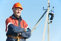 Power electrician lineman portrait Royalty Free Stock Photo