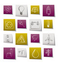 Power and electricity industry icons Royalty Free Stock Photo