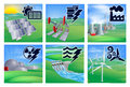 Power and energy icons different types of or generation with photovoltaic cells solar renewable oil well pumpjacks fossil fuel Stock Photo