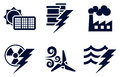 Power and energy icons an icon set with six representing generation types solar fossil fuel nuclear wind hydro or water plus oil Royalty Free Stock Photos