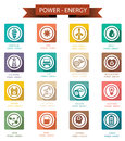 Power and energy retro icons set of Stock Photography
