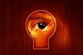 Power eye keyhole closeup shot on with texture background Stock Photo