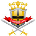 Power of faith illustration a crown shield and sword as an icon Royalty Free Stock Photo