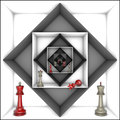 Power and freedom chess metaphor red gray pieces in black white tunnels d image Stock Images