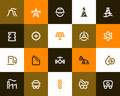 Power generation and oil industry icons. Flat style