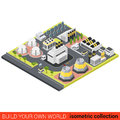 Power green energy heat plant sun battery flat isometric Royalty Free Stock Photo