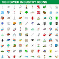 100 power industry icons set, cartoon style