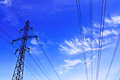 Power line against sky background Royalty Free Stock Photos