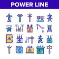 Power Line Electricity Collection Icons Set Vector