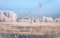 Power line in the snow covered field Royalty Free Stock Photo