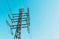 Power line support with high voltage wires. Royalty Free Stock Photo