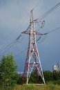 Power line tower single on the sky background Stock Photography